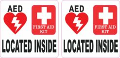 AED and First Aid Kit Located Inside Vinyl Stickers