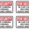 In Car Camera Recording Vinyl Stickers