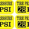 Yellow Tire Pressure 28 PSI Vinyl Stickers