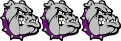 Right Facing Purple Collared Bulldog Mascot Vinyl Stickers