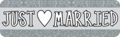 Silver Just Married Vinyl Sticker