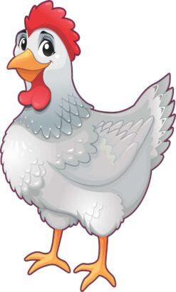 Left Facing White Chicken Vinyl Sticker