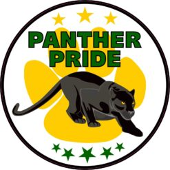 Green and Yellow Panther Pride Vinyl Sticker