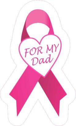For My Dad Breast Cancer Ribbon Vinyl Sticker