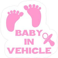 Pink Baby in Vehicle Vinyl Sticker